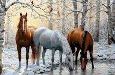 Предпросмотр схемы вышивки «лошади зимой»