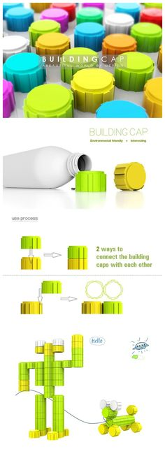 The Building Cap was designed by Chinese student called Shengpeng Zhao. When people drink up the water in bottle, they can collect the caps for building anything they want, just the LEGO bricks. The designers wish it can help the children live in poverty-stricken areas. This design work has won the iF Design Award in 2013.