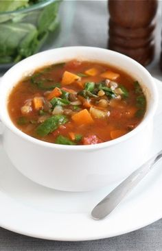 Lentil Soup with Sweet Potatoes and Spinach Recipe on twopeasandtheirpod.com Love this simple and healthy soup!
