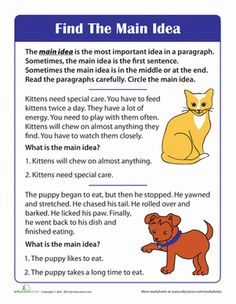 This main idea worksheet guides your child through reading comprehension practice. Use this main idea worksheet with your young reader.