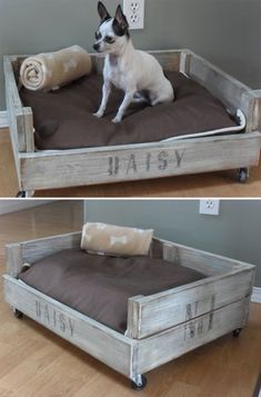 "DIY CRATE PET BED :: Tutorial & pics! Made out of scrap 1x4's from old furniture porjects. She wanted it to look like an old weathered crate so the construction was basic. She added small castor wheels & appled a vinegar & steel wool solution to the wood, but then finished the look w/ some dark walnut danish oil then dry brushed paint then more oil to age the paint color. She added the name & ""No. 1"" w/ the freezer paper transfer method. All steps & pics included. 