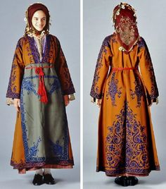 A woman's festive dress from Niğde (Cappadokia). Early 19th century. Possibly Greek or Armenian, considering the style of the embroideries. Made completely of a bright colour combed wool fabric with contrasting silk cord embroidery.