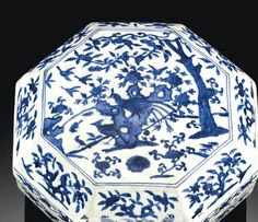 JIAJING SIX-CHARACTER MARK AND OF THE PERIOD. Jiajing Blue and White Porcelain Box, (1522-1566). BOX COVERED PORCELAIN BLUE WHITE CHINA MING DYNASTY , SIX CHARACTERS AND BRAND Jiajing era (1522-1566)
