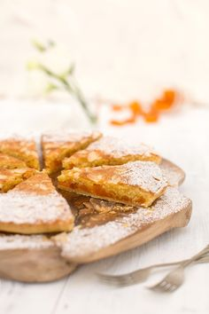 Soured apricot and frangipane tart