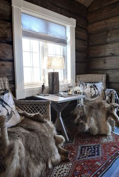 Norefjell Guest Mountain Cabin is located in the Norefjell Ski Resort in Buskerud County, Norway Reindeer Skins at Norefjell Guest Mountain Cabin, located in the Norefjell Ski Resort in Buskerud County, Norway. Winter Cabin, Cozy Cabin, Mountain Cottage, Mountain Cabins, Mountain Living, Little Cabin, Lodge Style, Log Cabin Homes, Cabins And Cottages