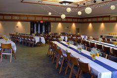 Lovely reception set up in the Prairie Pavilion at Dyck Arboretum! #prairiegardenwedding #kansaswedding #dyckarboretum
