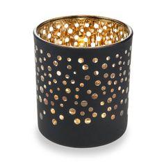 Lumignon à pois en verre noir/or