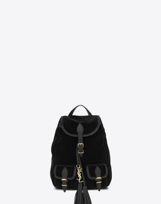 SAINT LAURENT SMALL FESTIVAL BACKPACK IN BLACK VELOUR AND LEATHER | YSL.COM