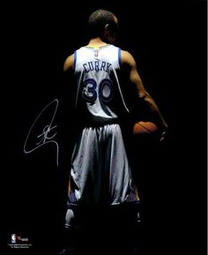 "Stephen Curry Golden State Warriors Autographed 16"" x 20"" Dark Turned Around Photograph from ManCaveGiant.com"