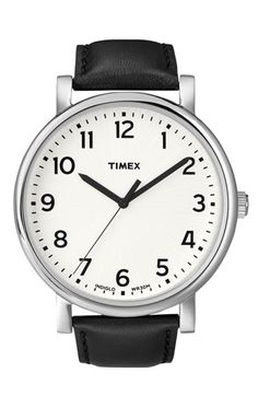 Timex® 'Easy Reader' Leather Strap Watch, 42mm | Nordstrom #watch #wrist #analogue #clock #time #vintage #retro #leather #lifestyle #style #design