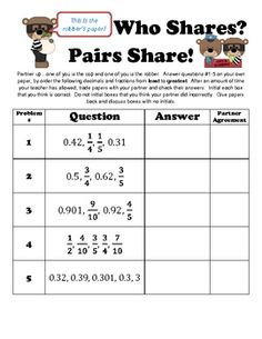 This is a great partner activity for students who are learning to compare and order fractions and decimals.  Students are either a cop or a robber ...