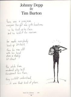 Johnny Depp~ A Poem By Tim Burton BFFs write pomes about each other.