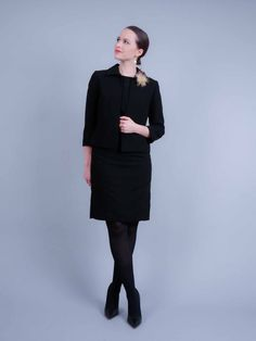 The sheath dress all black in the office