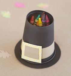 pilgrim hat crayon holder using upside down cup