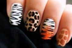 Wild nails #safari #leoprint #zebra #tiger