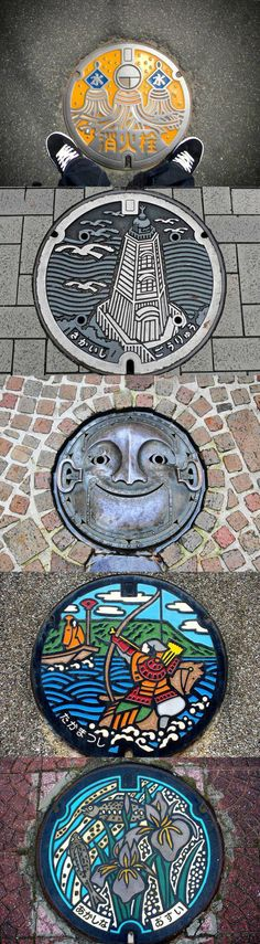 Love these ... The Japanese people always show such attention to detail ... Right down to the art on a manhole cover.