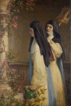 Talbot Hughes (1869-1942)   –    Tending the Roses (1378х2048)