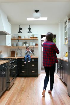 Tuxedo kitchen remodel with open shelves | The Grit and Polish