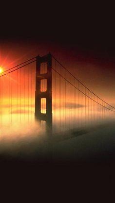 Sunset fog, Golden Gate Bridge, San Francisco