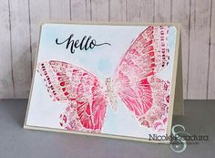 """Follow the video tutorial for watercolor techniques using the Swallowtail stamp set.  Specifically the video demonstrates the """"emboss resist"""" technique.  DIY hello card"""