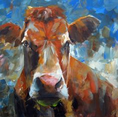Cow Paintings On Canvas   Cow Painting Miss March Original Painting by CariHumphryArt