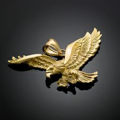 Solid gold polish eagle pendant solid gold eagle and pendants gold flying eagle pendant aloadofball Images