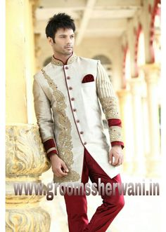 Groom Sherwani - Today's Groom Sherwani is also called Indo Western Groom Sherwani, colour of this groom sherwani is beige. With simple work done on it . However one can wear this groom sherwani in the occasion of Sangeet in Indian marriage which suits perfect as per occasion. We used the heavy Sattin material to make this Groom Sherwani. One can also wear pant or breeches in bottom with this Groom Sherwani. However in india Indo Western Groom Sherwani is very famous for the occasion of…