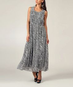 Take a look at this Black & White Zebra Sleeveless Maxi by Kushi by Jasko on #zulily today!