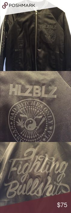 """Hellz Bellz Fighting Bullsh*t bomber jacket """"Brand new with tags"""" Never opened.  Ordered 2 on accident.   Size SMALL  """"This slick bomber jacket will keep you looking FLY AF while you stay toasty cos BB it's COLD outside! Fully lined with contrast ribbing at the cuffs and hem, this black number is a fitted jacket that looks dope both fitted and baggy. Graphic on the front left pocket and 'Fighting Bullshit' emblazoned across the back, we recommend you cold hand wash this jacket. Fits true to…"""