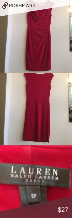 Red Ralph Lauren dress Beautiful red Ralph Lauren dress, just in time for those Christmas parties!  Hits at or below knees, depending on your height. Left side rouching. Very form fitting & stretchy.  Sleeveless. Ralph Lauren Dresses