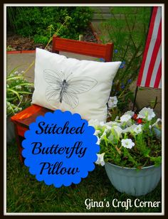 Machine stitched butterfly
