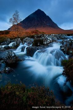 Click for a larger view Blue Hour Buachaille Etive Glencoe, SCOTLAND Pre-dawn light at Buachaille Etive Mor.  Canon 5DMkII, 17-40mm 4L, ISO 400, f9, 6 seconds, Gitzo Mountaineer tripod.  Photograph by Winnie Ho