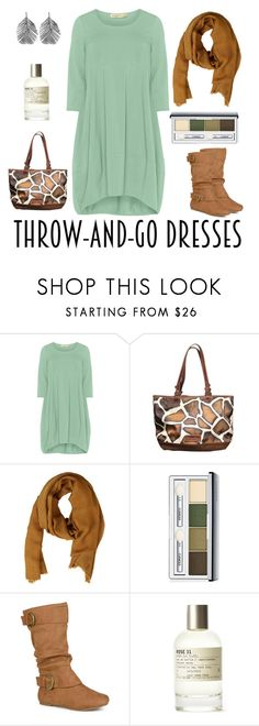 """""""throw and go balloon dress"""" by moonshine-mtn-bear ❤ liked on Polyvore featuring Isolde Roth, Dooney & Bourke, MANGO, Clinique, Journee Collection, Le Labo and Alex Monroe"""