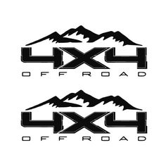 "4x4 Mountain Off Road Bedside Precision Cut Vinyl Decal for Ford, Chevy, Dodge, GMC, Nissan - Set 15""W x 7""H"