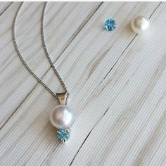 Lose a pearl earring? Make a pendant out of the one you still have! Add a personal touch with your choice of stone! Blue Topaz, Custom Jewelry, Pearl Necklace, Touch, Pure Products, Jewels, Stone, Pendant, Color