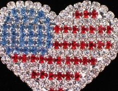 PATRIOTIC FLAG UNITED STATES USA MEMORIAL INDEPENDENCE DAY HEART PIN BROOCH 1.75 #Unbranded