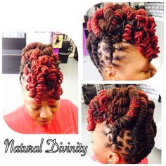Loc barrels updo with curly bangs