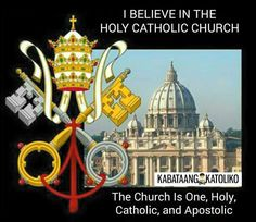 "Catechism of the Catholic Church #kabataangkatoliko  ""I BELIEVE IN THE HOLY CATHOLIC CHURCH""  The Church Is One Holy Catholic and Apostolic  (811) ""This is the sole Church of Christ which in the Creed we profess to be one holy catholic and apostolic."" These four characteristics inseparably linked with each other indicate essential features of the Church and her mission. The Church does not possess them of herself; it is Christ who through the Holy Spirit makes his Church one holy catholic…"