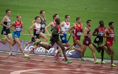 Canada's Nate Brannen competes in the semifinals of the men's metres at the 2012 London Olympic Games, August Brannen bounced back after a fall from bumping into another runner, but was unable to catch the pack. Olympic Runners, London Olympic Games, Cross Country Running, The Man, Olympics, Things That Bounce, Athlete, Celebrities, Sports