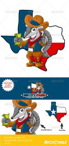 Texas Armadillo Mascot. Get additional logo version, Armadillo mascot, Texas Map, Texas shape.