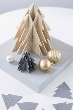 25 Amazing Christmas Paper Crafts for Kids 3d Christmas Tree, Wooden Christmas Ornaments, Christmas Paper Crafts, Woodland Christmas, Paper Crafts For Kids, Modern Christmas, Holiday Crafts, Holiday Fun, Christmas Time