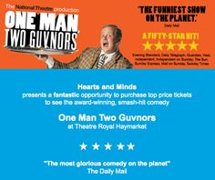 Hearts and Minds: See 'ONE MAN TWO GUVNORS' and help Hearts & Minds Price Tickets, National Theatre, Heart And Mind, Fundraising, Hearts, Mindfulness, Funny, Books, Libros