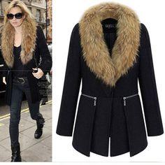 Ucuz Doğrudan Çin Kaynaklarında Satın Alın: Yeni kış kadın yün ceket sıcak siyah büyük kürk yaka outwears fermuar bayan uzun manto ceket xl-6xl satılıköğe özellikleriniRenk: siyahMalzeme: yün karışımı ve sahte kürkAsya boyutu: xl-6xlBize boyutu