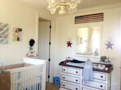 Tamera Mowry Vintage Americana Boy's Nursery  like how the flag was painted.... just would change it to the beautiful Canadian flag.