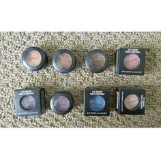9 MAC eyeshadows bundle All new or swatched once. Retails for $16 each. Will sell for $12 each. The ones with boxes are shown. Will take lower on Pal.  Top row L to R: Expensive Pink, Swiss Chocolate, Embark, Swish Bottom row L to R: Satellite Dreams (have 2 of these), Moon's Reflection, Yogurt MAC Cosmetics Makeup Eyeshadow