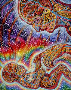 Theirs an extensive amount of energy in this piece. To me, it represents the visual love, strength & connection between a parent and child. Alex Grey - Young & Old