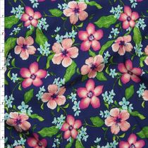 Pink and Bright Green Floral on Royal Blue Rayon Challis