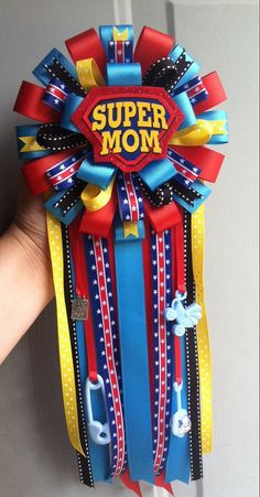 SuperMom Baby Shower Corsage with matching by ModernMumsCollection