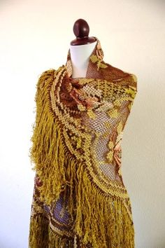Vintage Floral and Fringed Shawl Gypsy Rose by RetroKittenVintage, $42.00