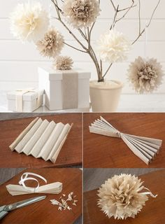 5 DIY Tissue Paper Pom Poms The Effective Pictures We Offer You About home design tips how to decora Tissue Paper Pom Poms Diy, Paper Flowers Diy, Diy Paper, Paper Crafts, Paper Poms, Paper Flower Garlands, Easter Crafts For Kids, Crafts For Teens, Craft Stick Crafts